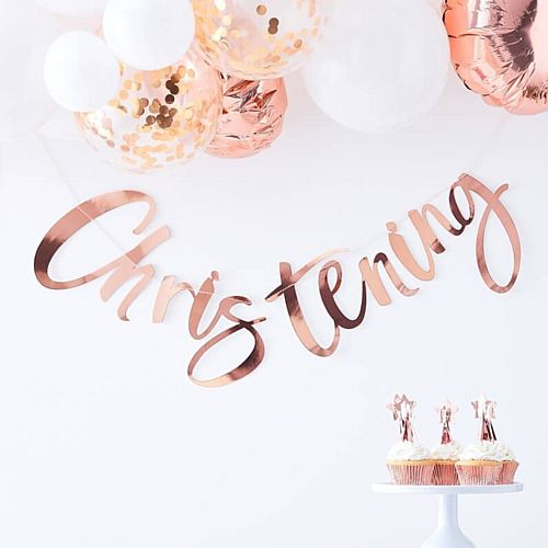 Rose Gold Christening Bunting - 1.5m