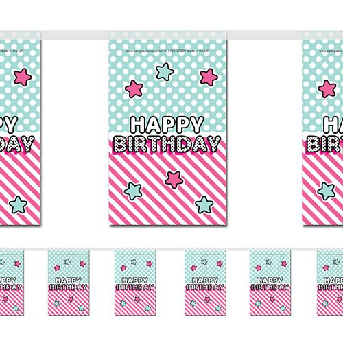 Surprise Birthday Paper Flag Bunting - 2.4m