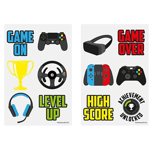 Mini Gamer Tattoos - Assorted Designs - 4cm - Pack of 6