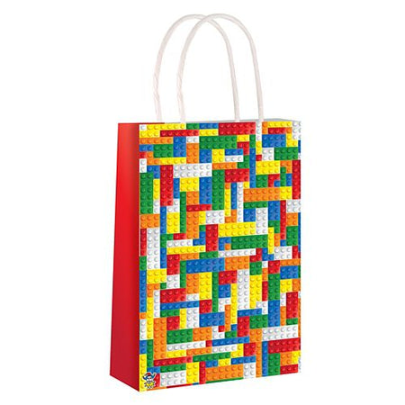 Building Blocks Paper Party Bag With Handles - 21cm - Each