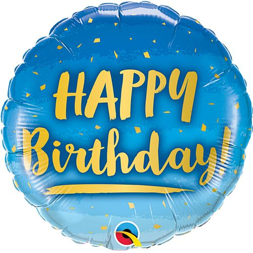 Birthday Blue and Gold Foil Balloon - 18""