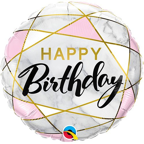 Birthday Marble Effect Foil Balloon - 18""