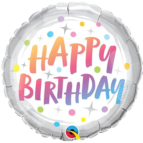 Birthday Rainbow Dots Foil Balloon - 18""