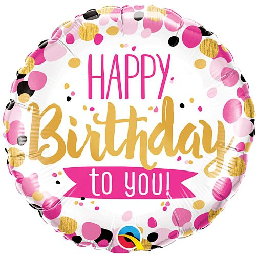 Birthday Pink and Gold Dots Foil Balloon - 18""