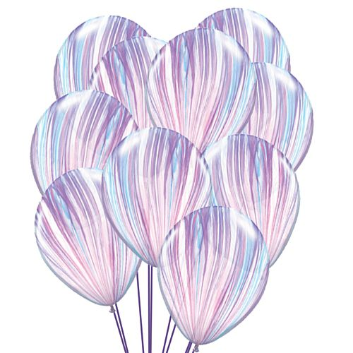 "Pink and Purple Marble SuperAgate Latex Balloons - 11"" - Pack of 10"