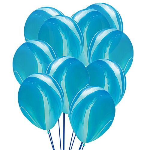 "Blue Marble SuperAgate Latex Balloons - 11"" - Pack of 10"
