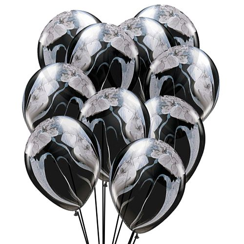 Black And White Marble SuperAgate Latex Balloons - Pack of 10