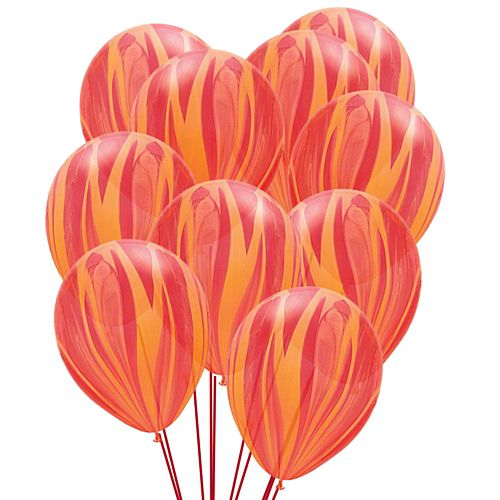 "Red Marble SuperAgate Latex Balloons - 11"" - Pack of 10"
