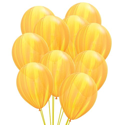"Yellow Marble SuperAgate Latex Balloons - 11"" - Pack of 10"