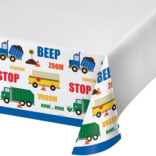 Cars and Trucks Plastic Tablecover - 137 x 259cm