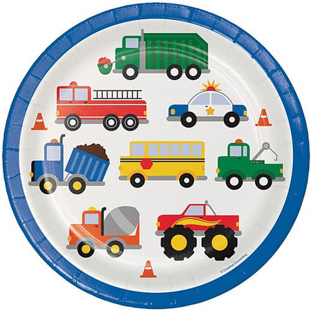 Cars and Trucks Dinner Plates - 23cm - Pack of 8