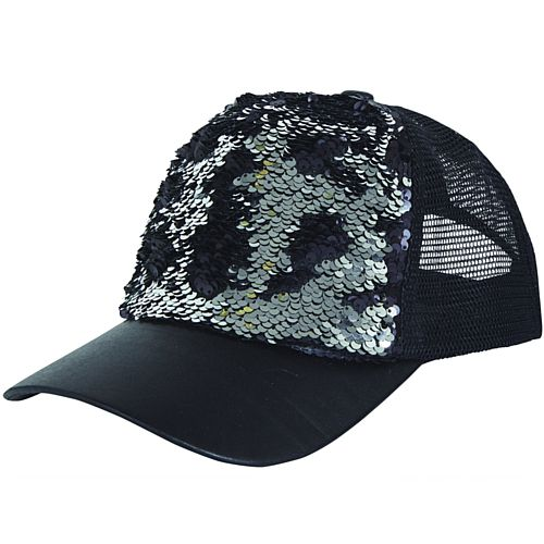 Black and Silver Sequin Cap