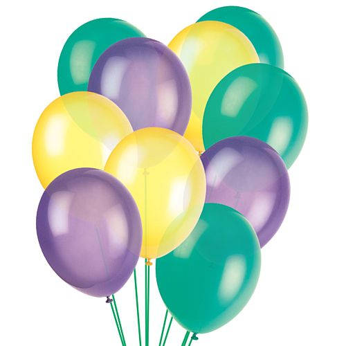 "Mardi Gras Latex Balloons - 12"" - Pack of 30"