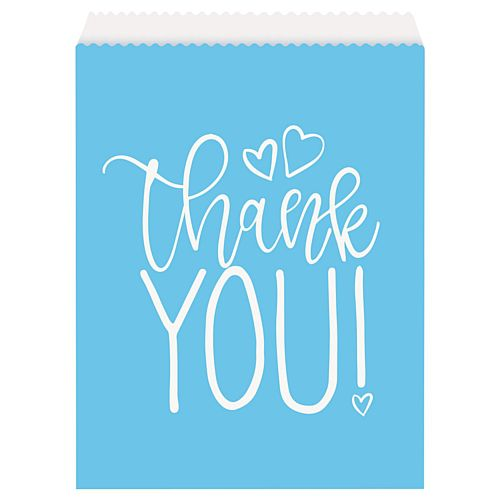 Blue Hearts Paper Goodie Bags - Pack of 8