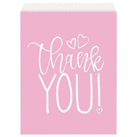 Pink Hearts Paper Goodie Bags - Pack of 8