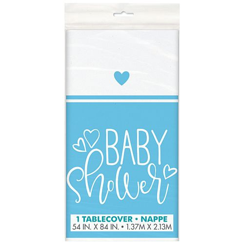 Blue Hearts Baby Shower Rectangular Plastic Tablecloth - 2.1m
