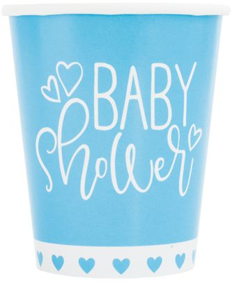 Blue Hearts Baby Shower Paper Cups - Pack of 8