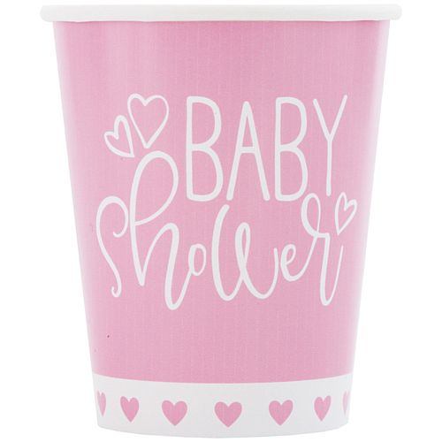 Pink Hearts Baby Shower Paper Cups - 266ml - Pack of 8