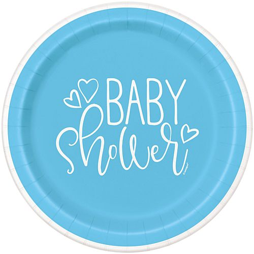 Blue Hearts Baby Shower Plates - 23cm - Pack of 8