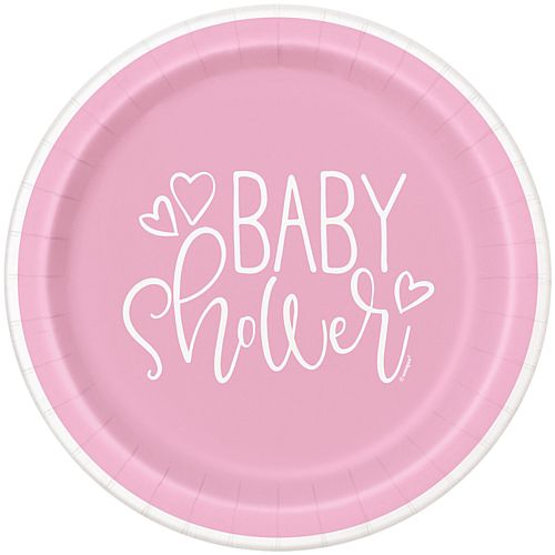 Pink Hearts Baby Shower Plates - 23cm - Pack of 8