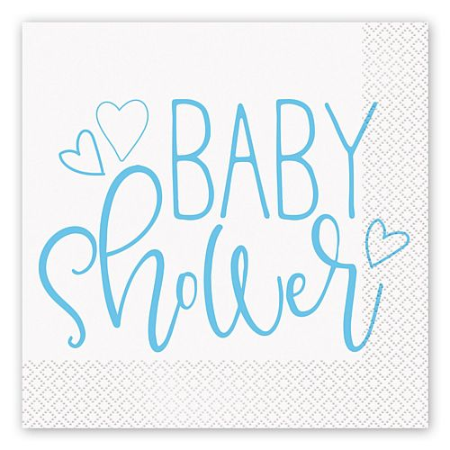 Blue Hearts Baby Shower Napkins - Pack of 16