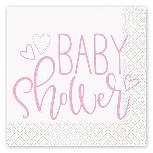 Pink Hearts Baby Shower Luncheon Napkins - Pack of 16
