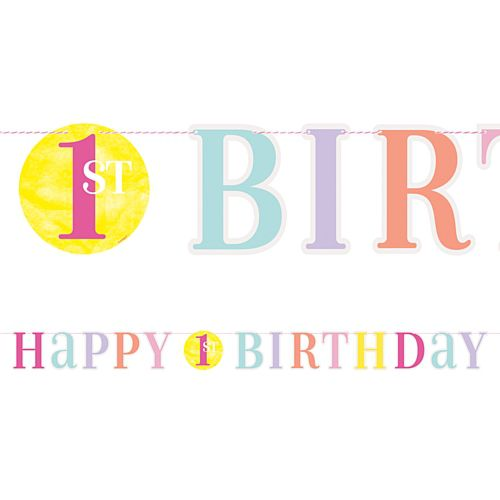 Pink Dots First Birthday Letter Banner - 1.8m