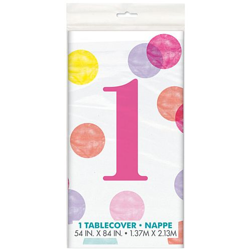 Pink Dots First Birthday Rectangular Plastic Tablecloth - 2.1m