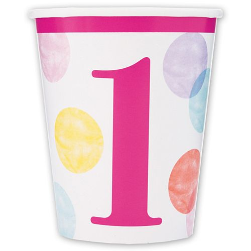 Pink Dots First Birthday Paper Cups - 266ml - Pack of 8