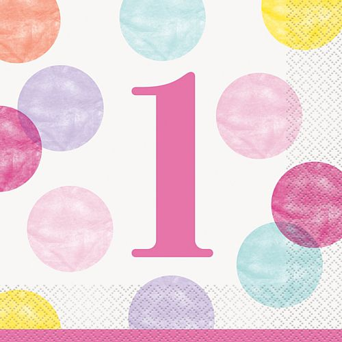 Pink Dots First Birthday Luncheon Napkins - Pack of 16
