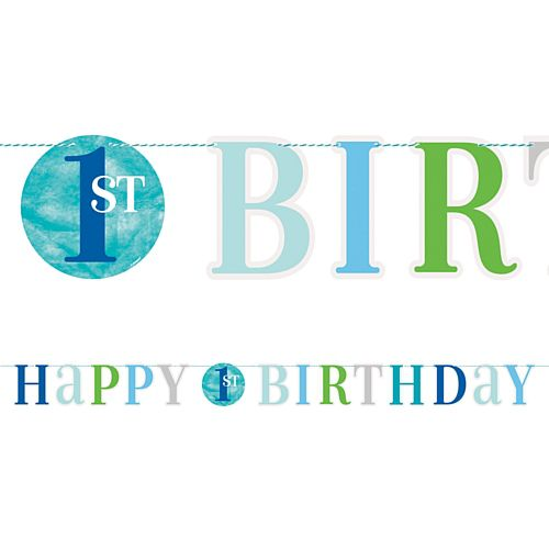 Blue Dots First Birthday Letter Banner - 1.8m