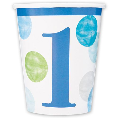 Blue Dots First Birthday Paper Cups - 266ml - Pack of 8