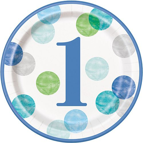 "Blue Dots First Birthday Round Dinner Plates - 9"" - Pack of 8"