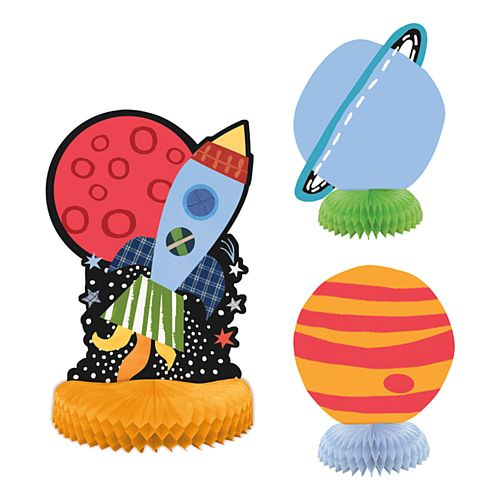 Outer Space Honeycomb Centrepiece - Pack of 3