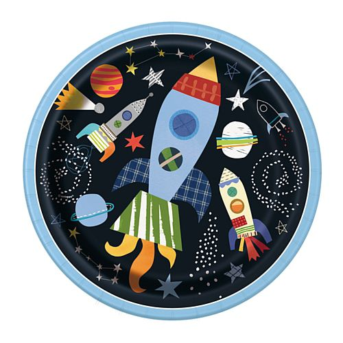 "Outer Space Round Dinner Plates - 9"" - Pack of 8"