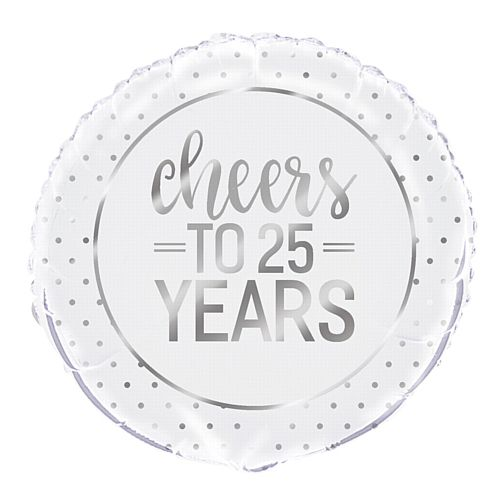 Cheers to 25 Years Silver Anniversary Foil Balloon - 18""