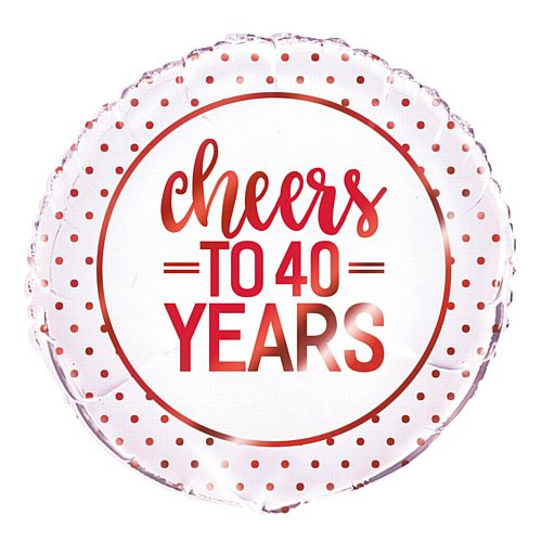 Cheers to 40 Years Ruby Anniversary Foil Balloon - 18""
