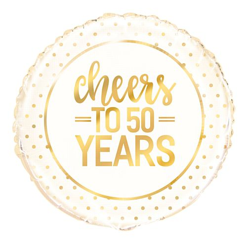 Cheers to 50 Years Golden Anniversary Foil Balloon - 18""