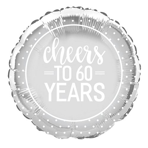 Cheers to 60 Years Diamond Anniversary Foil Balloon - 18""