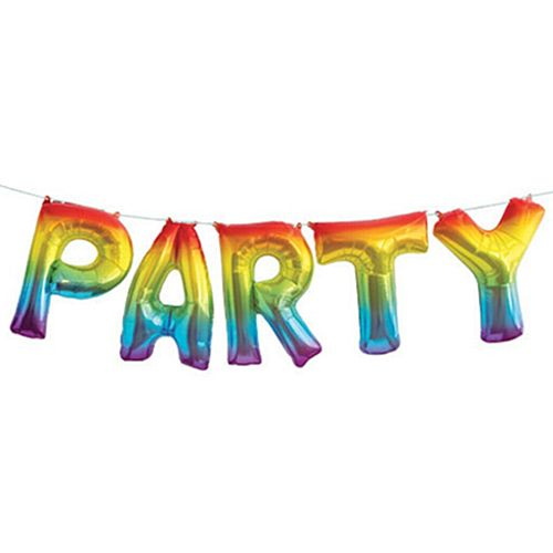 Rainbow 'Party' Letter Balloon Bunting - 2.74m