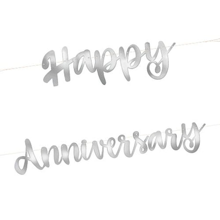 Silver 'Happy Anniversary' Letter Banner