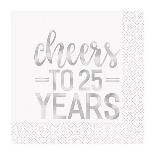 Cheers to 25 Years Silver Anniversary Napkins - Pack of 16