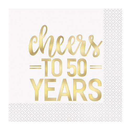Cheers to 50 Years Golden Anniversary Napkins - Pack of 16