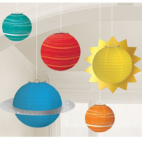 Blast Off Birthday Paper Lanterns - Pack of 5