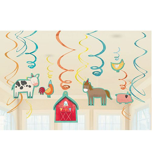 Barnyard Birthday Swirl Decorations - Pack of 12