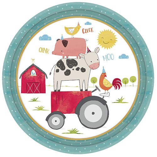 Barnyard Birthday Paper Plates - 23cm - Pack of 8