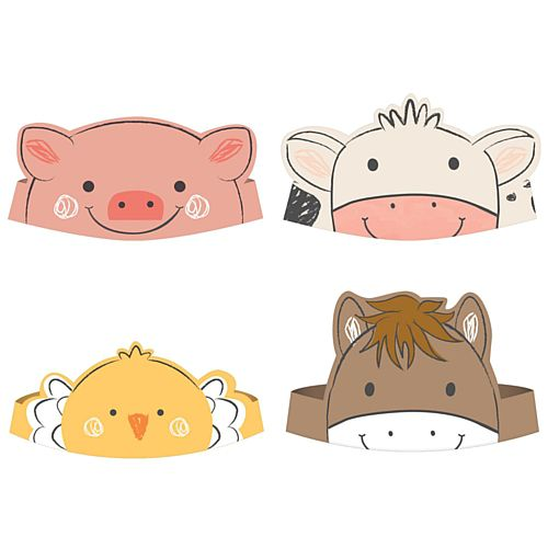 Barnyard Birthday Paper Crowns - Pack of 8