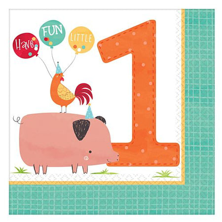 Barnyard 1st Birthday Luncheon Napkins - 33cm - Pack of 16