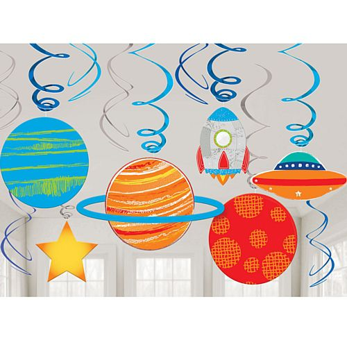 Blast Off Birthday Swirl Decorations - Pack of 12