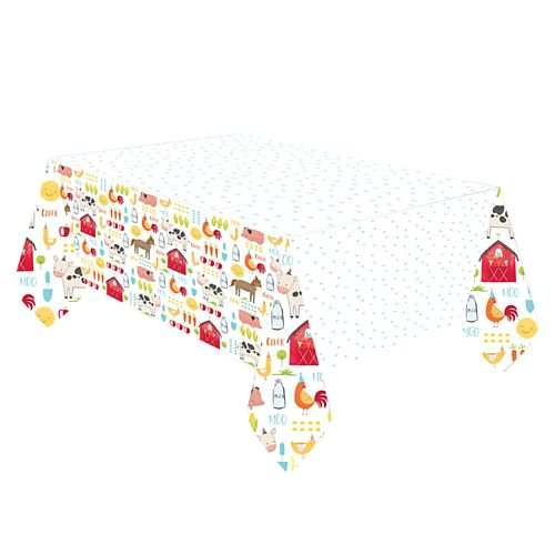 Barnyard Birthday Plastic Tablecover - 2.6m